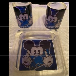 Mickey F U Set (Ashtray & Shot Glasses)